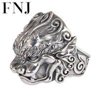 FNJ 925 anillo de plata Pixiu ajustable 100% original S925 Sólido Sólido Anillos de plata para hombres Joyería Fine Lucky Animal