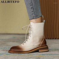 AllbitFo Größe 34-42 Natürliches Echtes Leder Frauen Stiefel Mode Winter Herbst Motocycle Boots Frauen Knöchel High Heel Schuhe1
