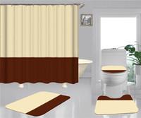 As cortinas simples do chuveiro de impressão conjuntos Hipster de alta qualidade Quatro peças do banheiro anti-espigante desodorante antiderrapante Devo Bath Habilete