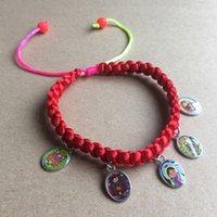 Wholsale 로프 묵주 베이비 버진 과달 루페 바젤 / 코드 Osary Bracelet / Decenario Bracelet 종교 아이콘 펜던트 Y1119