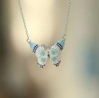 골드 실버 로즈 골드 3 색 다채로운 아름다운 나비 목걸이 보헤미아 스타일 925 스털링 실버 포장 된 CZ 청록색 패션 쥬얼리