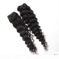 Jet Siyah Renk Derin Dalga 8-28 30 inç 3 4 Demetleri Brezilyalı Remy Saç 100% İnsan Saç Uzatma Doğa Kapatma Örgü