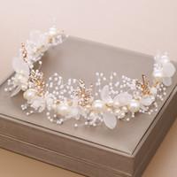 Altın Çiçek Inci Kafa Tiara Taç Düğün Gelin Prenses Bantlar Saç Takı Kristal Aksesuarları Gelin Headdress Başlığı AL7856