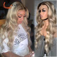 Spitzeperücken 1b 613 HD Transparent Ombre Blonde Body Wave Frontal Human Hair Remy Prepped Bleached Knoten 13x6x1