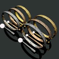 3 행 전체 다이아몬드 티타늄 강철 팔찌 패션 여성 남성 커플 팔찌 Bangles 벨벳 가방과 발렌타인 쥬얼리