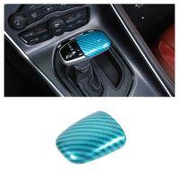 Bouton de shifter d'engrenage ABS Garniture de charbon bleu clair Fibre de carbone pour Dodge Challenger / Chargeur 2015 Accessoires intérieurs de voiture