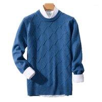 Suéteres para hombre Suéter de cachemira Men Jersey Otoño Invierno Ropa Hombre Robe Pull Homme Hiver Man Business Casual Plaid Suéter1