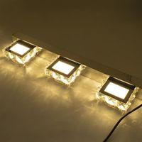 9W Tre luci Superficie di cristallo Bagno Bedroom Lamp Lampada da letto Warm White Light Silver Super Luminosità impermeabile Lampade da parete impermeabili