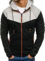 Hoodies masculino moletom marca moda moda sportswear homens zíper cordão contraste cor tracksuit casual homem streetwear1
