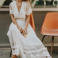 Hollow Out White Sexy Women Long Criss Cross Semi-sheer Plunge V-Neck Short Sleeve Lace Maxi Dress Y200805