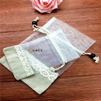 Regalo envoltura yute lino hessian bolsas de boda bolsa de la bolsa de gauze caramelo pequeño rústico arpillera natural de encaje
