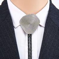 Vaquero bolo corbata mano huella dactilar Personalidad de aleación de zinc unisex corbata tornillo cuello de cuero cordón