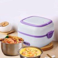 2020 novo mini fogão de arroz térmico aquecimento elétrico lancheira 2 camadas portátil steamer cozinhar recipiente refeição almoço1