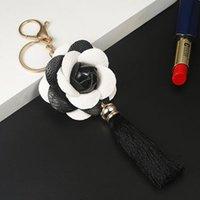 Новое Прибытие Camellia Кожаный Цветок с Кисточкой Цепочка Key Goldow Мода Ключ Кольцо Женщины Сумка Подвесной Автомобиль Keychain EH883 H Bbyajw