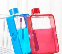 Quadrado esportes ao ar livre chaleira plástica vermelho azul a5 380ml portátil plástico água copo criativo bebidas frasco venda quente 8 8kn j2