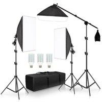 ACCESSOIRES STUDIO ACCESSOIRES Pographie Professionnel PO Softbox Lights Kit continu Équipement BOOM BOOM BOOM 3PCS Boîte souple avec Sandbag