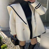 여성용 자켓 선원 칼라 여성용 빈티지 우아한 모든 경기에 대 한 간단한 솔리드 더블 브레스트 겨울 겨울