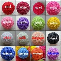 """40 cm 16 """"Dia Zarif Yapay Güller Çiçekler Topları Asılı Öpüşme Topu Zanaat Süs 16 Renkler Düğün Parti Dekorasyon için 16 Renkler"""