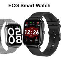 DT35 + ووتش الذكية ECG PPG HIV الصحة اللياقة تعقب الرياضة الذكية للرجال النساء بلوتوث مكالمة هاتفية 1.75 بوصة HD شاشة اليد