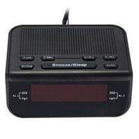 Cyfrowy radio budzików do sypialni Cyfry radiowe FM Dimmerable Red Display, Easy Snooze, Sleep Timer (Wtyczka UE) 1