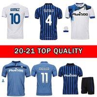 2021 ATALANTA B.C. Jersey di calcio # 10 Gomez # 72 Ilicic 20 21 uomini Camicia da calcio a casa Blue Away Bianco Camicie da calcio personalizzate