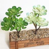 Guirnaldas de flores decorativas 1x 3heads Plantas suculentas artificiales Mini Lotu Tree Indoor Bonsai Hierba 7 pulgada Altura