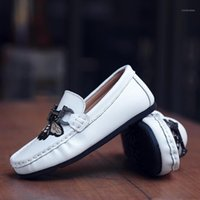 Hobiberear venda quente menino sapatos sapatos para crianças feitos artesanais deslizamento em sapatos casuais meninas meninas crianças planos de couro1