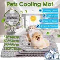 Xs xl esteira de verão seda de gelo animal de estimação esteiras de refrigeração cobertor almofada cama cama sofá almofada respirável calor alívio nenhum tóxico portátil cat1