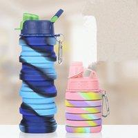 500ML Bottle dobrável portátil com tampa dobrável garrafa de água de água de grande capacidade garrafa Outdoor Silicone Folding Água