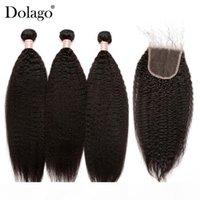 Paquetes de pelo rectos Kinky con cierre 3 paquetes de tejido de pelo humano brasileño de Yaki brasileño con cierre Remy Dolago Products
