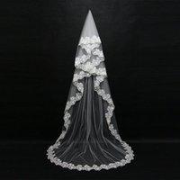 Mariage 3M une couche de lace de dentelle blanche ivoire catherdal voile voile long mariée voile bon marché accessoires de mariage veu de noiva