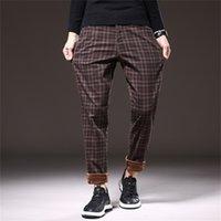 Shan Bao Hiver Chaud Plus Velvet Casual De Casual Brand Vêtements Trend Rivet Fashion Fashion Mode Pantalon Plaid Vin Rouge 201218
