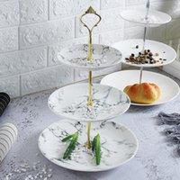 Ceramica imitazione in marmo tre piani vassoio di frutta vassoio multi-strato torta stand dim sum pomeriggio doppio strato secco zucchero frutta blu