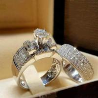 다이아몬드 조합 반지 결혼 반지 쥬얼리는 여성을위한 약혼 반지를 설정합니다. 너클 다이아몬드 반지 패션 쥬얼리 선물 의지와 모래