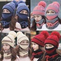 양모 전체 얼굴 마스크 따뜻한 여자 사랑스러운 비니 귀 보호 windproof 스카프 니트 모자 세 조각 세트 겨울 패션 뜨거운 판매 14ss m2