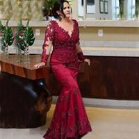 Uzun Kollu Dantel Mermaid Annesi Gelin Elbiseler 2021 Robe de Soirée De Mariage Muhteşem Kırmızı Örgün Akşam Damat Abiye
