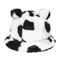 Широкие Breim Hats Faux меховой мех зима Панама медведь ухо Открытый солнцезащитный крем ковш шляпа универсальный леопард печатает коровья волосы плюшевая бассейна Cap1