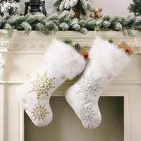 Christmas Decorations Flannel Pearl Snowflake Socks Plush Large Gift Candy Decoration Ornament Fireplace Bag