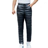 Kış Erkekler Aşağı Pantolon Artı Boyutu Nefes Kalın Sıcak 90% Beyaz Ördek Aşağı Pantolon Açık Su Geçirmez Yüksek Bel Yürüyüş Pantolon1