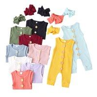 赤ちゃんの純粋な色のジャンプスーツ新生のファッションノースリーブロンパース子供たちクライミング服の髪のバンドは熱い販売23YL J2