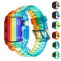 Para Apple Watch Band Funda Transparente degradado Correa de gradiente 38mm 40mm 42mm 44mm pulsera para iWATHC 6 5 4 3 2 Muñeca clara Reloj