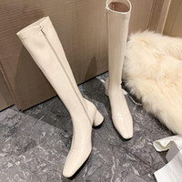 Stivali 2021 First Laye in pelle ginocchio ad alta piattaforma inverno donne scarpe lunghe calzino sopra il