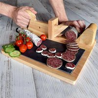 Corte de salchicha de madera Cortador de alimentos de roble natural Sagrador de salchicha con cuchilla de acero inoxidable Herramienta de corte de carne para la cocina Camping YYF3707