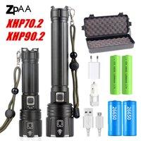 Nuevo XHP90.2 XHP70.2 Linterna LED Táctil Táctica antorcha impermeable zoom Zoom Caza Lámparas Camping 26650 Antorcha potente recargable 201204