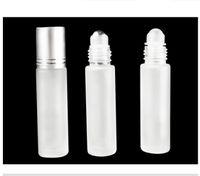 10 мл парфюмерные рулоны на стеклянной бутылке замороженные с шариковым роликом Эфирные масла флаконы Белое золото Черная крышка рафинированного масла бутылки белый