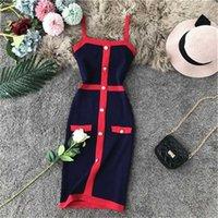 새로운 디자인 여성 패션 레트로 우아한 단일 가슴 패치 워크 스파게티 스트랩 니트 연필 드레스 컬러 블록 짧은 드레스