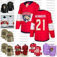 2021 Personnaliser 21 Alexander Wennberg Florida Panthers Jerseys Edition Golden Camo Anciens Combattants Jeux de hockey cancé Cancer