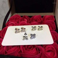 تي تيفون بيع 925 الفضة الاسترليني أربعة ورقة البرسيم القرط المرأة شعار الكلاسيكية الرومانسية مجوهرات الزفاف هدية عيد الحب 1