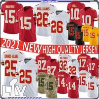 15 Patrick Mahomes 26 Bell 25 Edwards-Helaire 2020 New Football Jersey 87 Travis Kelce 32 Mathieu 29 Berry 17 هاردمان 10 هيل 14 واتكينز