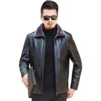 Aksr New Hombre Chaqueta de cuero para hombre Invierno más tamaño de cuero de tamaño de grasa más Velvet Fur Lapel Cuello de rechazo abrigo de mediana edad 201216